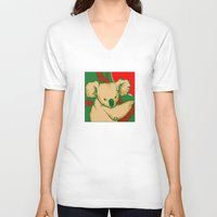 koala V-neck T-shirts featuring Koala by whiterabbitart
