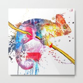 Chameleon Splash of Colors Metal Print