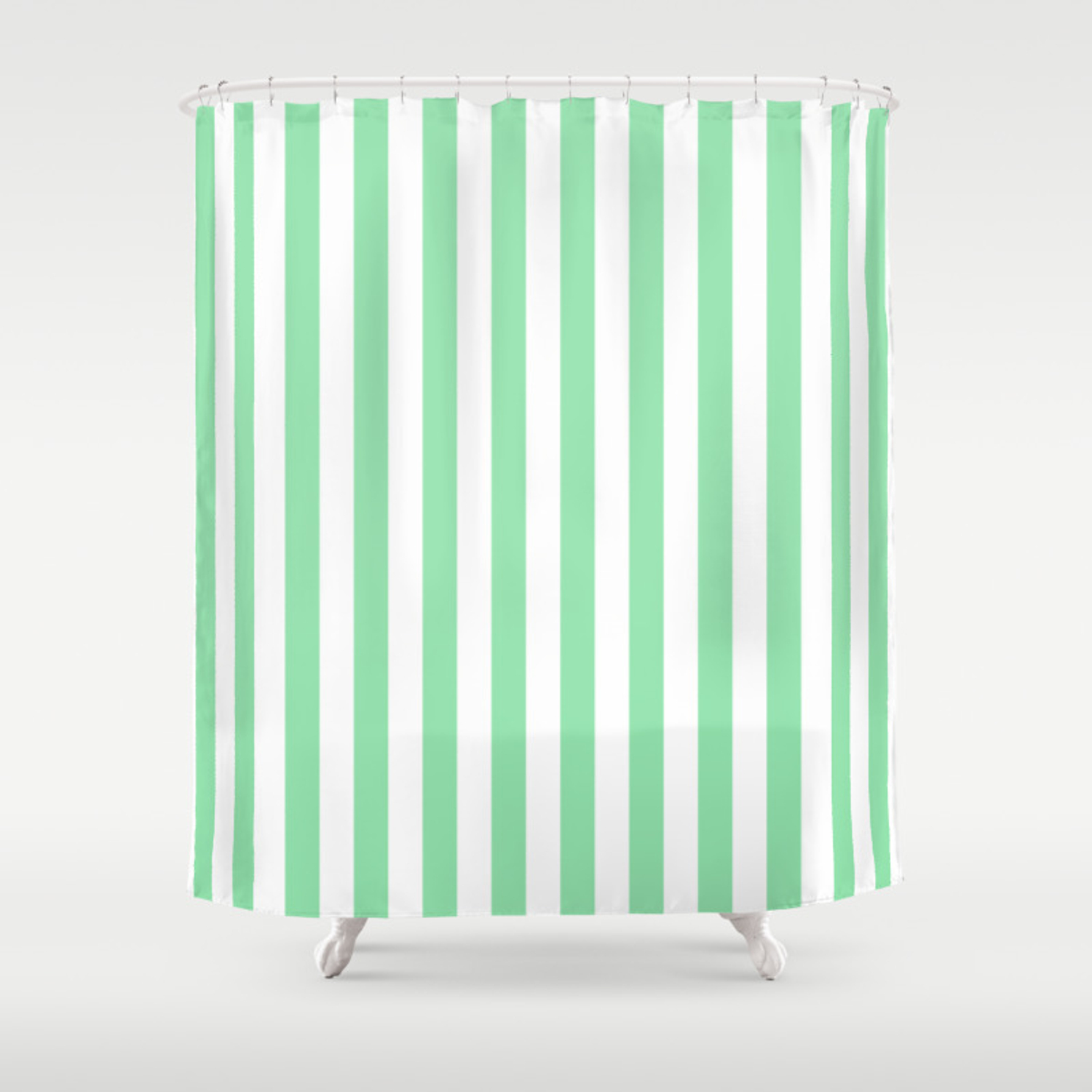 Large Mint Green And White Vertical Cabana Tent Stripes Shower Curtain