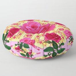 PINK & RED GARDEN ROSES PATTERN PINK ABSTRACT Floor Pillow
