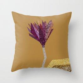 Purple Flower (orange) Throw Pillow