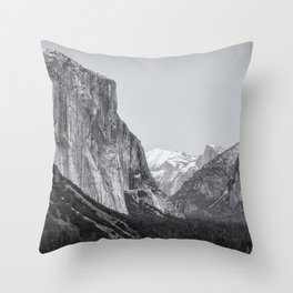 El Capitan, Half Dome and Sentinel Rock from Tunnel View bw Throw Pillow