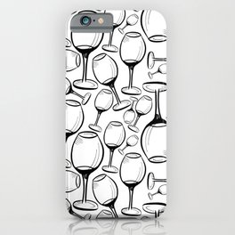 Print with wine glasses. Drawn wine glasses, sketch style. Black on white iPhone Case