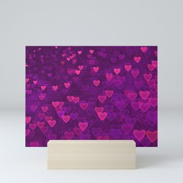 Abstract Pink Ultra Violet Love Heart Pattern | St Valentines day Mini Art Print