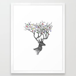 Christmas Antlers Framed Art Print