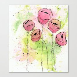 Pink and Green Splotch Flowers Canvas Print