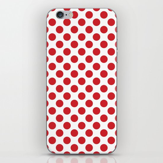 White and red polka dots iPhone & iPod Skin
