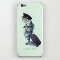 pilot iPhone & iPod Skins featuring The Pilot (colour option) by Eric Fan