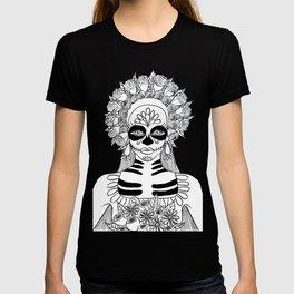 La Calavera Catrina Sugar Skull Ink Drawing T-shirt
