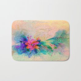 Soft Colorful Pastel Shaded Floral Abstract Bath Mat