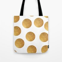 polkadot Tote Bags featuring GOLD POLKADOT 2 by wlydesign