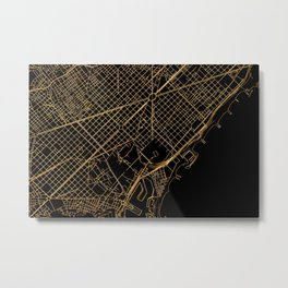 Black and gold Barcelona map Metal Print