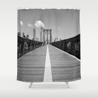 brooklyn bridge Shower Curtains featuring Brooklyn Bridge. by Gold Street Photography
