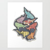 newspaper Art Prints featuring Newspaper Fish by Kate Allison