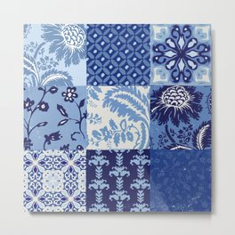 Blue and White Patchwork Squares Metal Print