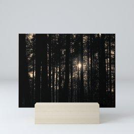 Sun between trees Mini Art Print