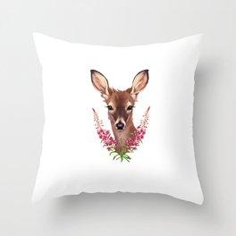 Fireweed Deer Throw Pillow