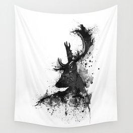 Deer Head Watercolor Silhouette - Black and White Wall Tapestry