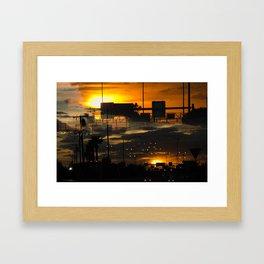 BINARY SUNDOWN - ORANGE Framed Art Print