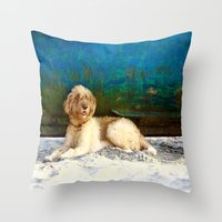 hippie Throw Pillows featuring Hippie by Sparnuota Fotografija