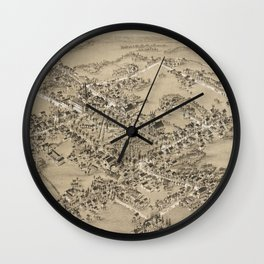 Vintage Pictorial Map of Guilford CT (1881) Wall Clock