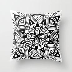 Mandala - Black Throw Pillow