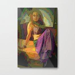dancer sitting in a mosaic style, purple \ .razhny, sad Metal Print