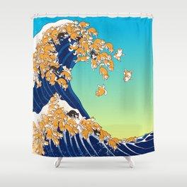 Shiba Inu In Great Wave Shower Curtain