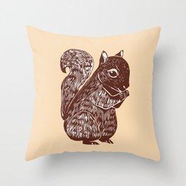 Brown Squirrel Printmaking Art Throw Pillow