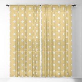 Pink Polka Mustard Sheer Curtain