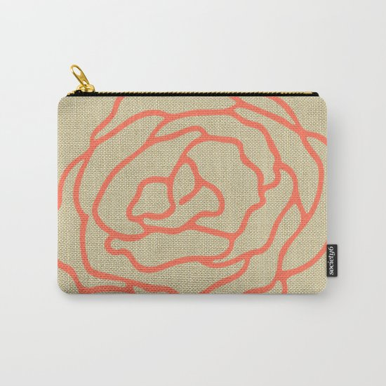 Rose in Deep Coral on Linen Carry-All Pouch