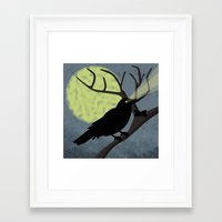 crow Framed Art Prints featuring Crow by Nir P