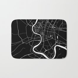 Bangkok Thailand Minimal Street Map - Midnight Black and White Bath Mat