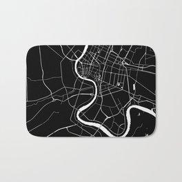 Bangkok Thailand Minimal Street Map - Midnight Black and White Bath Mat