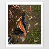 Koi Mermaid Art Print