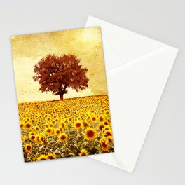 lone tree & sunflowers field Stationery Cards