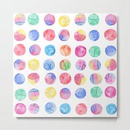 Artistic hand painted pink blue green watercolor brush strokes polka dots Metal Print