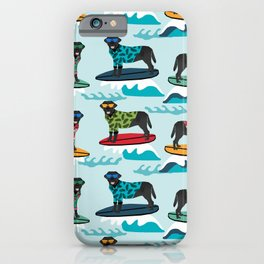 Black Labrador surfing dog breed pattern iPhone Case