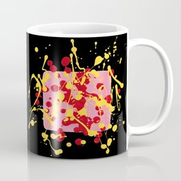 Paint Dance Pink Square Yellow Red on Black Coffee Mug