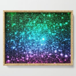 glitter Cool Tone Ombre (green blue purple pink) Serving Tray