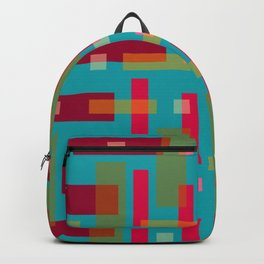 Red and Ocher Block City on Turquise Backpack