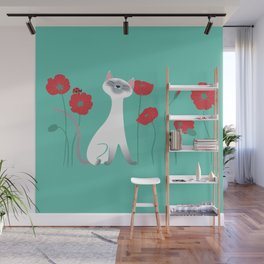 Siamese & Poppies Wall Mural