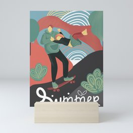 Summer skateboarding Mini Art Print