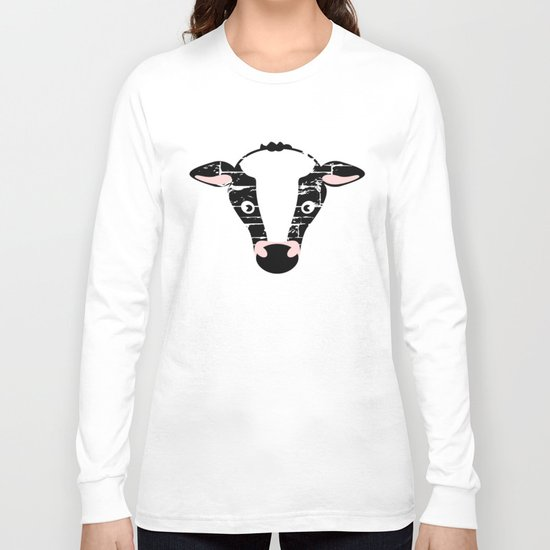 Cute Cow Face Long Sleeve T-shirt