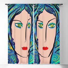 Pop Girl with green eyes and blue hair Blackout Curtain