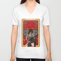 mucha V-neck T-shirts featuring Modern Mucha - Sarah Conner by Frank DeAngelo