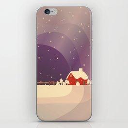 Peaceful Snowy Christmas (Plum Purple) iPhone Skin