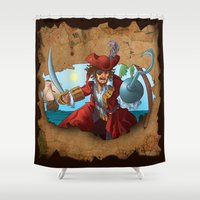 pirate Shower Curtains featuring Pirate by scottpratherpaints