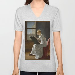 Young Woman Drawing - Marie Denise Villers Unisex V-Neck