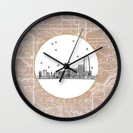 Oklahoma City, Oklahoma City Skyline Illustration Drawing Wall Clock